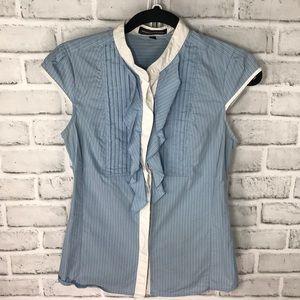 Express blue blouse button up